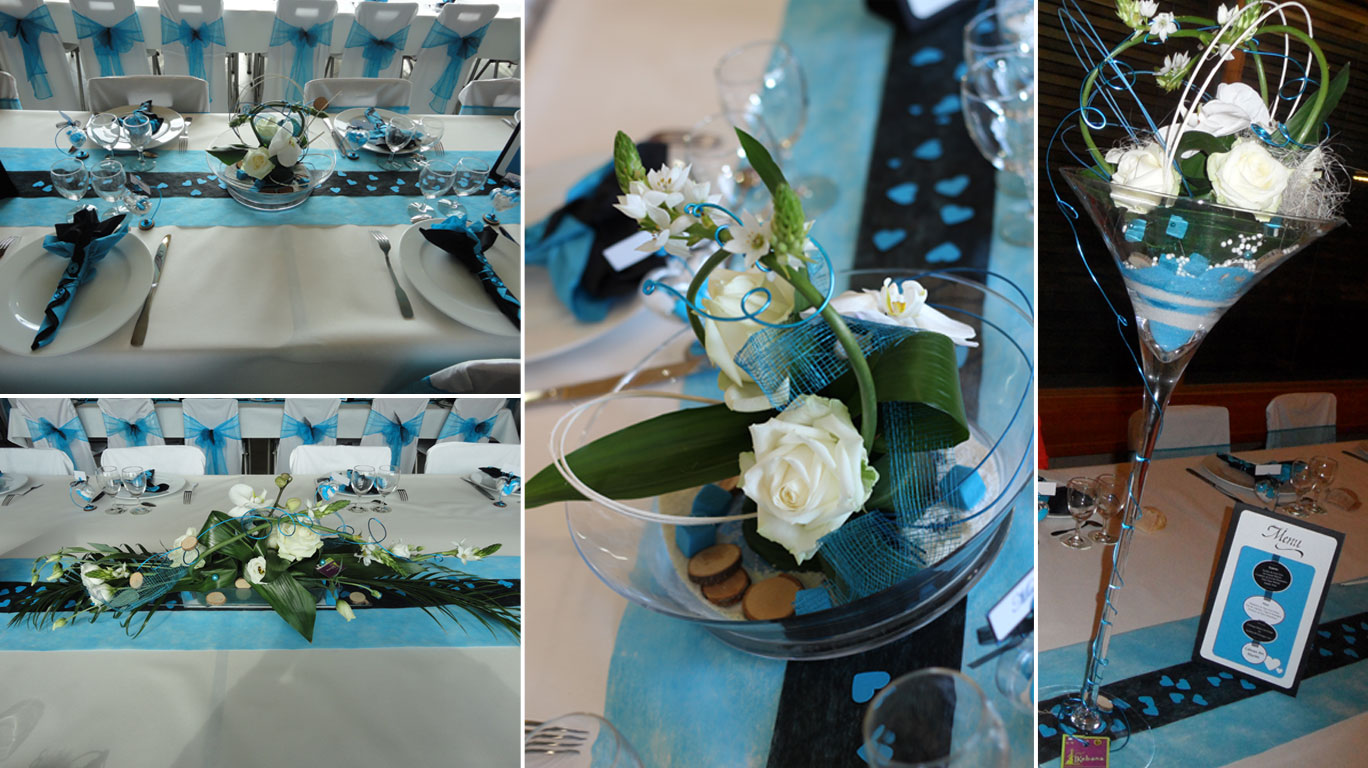 Ikebana fleuristes roanne - Centre de table bleu turquoise ...